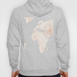Marble World Map Light Pink Rose Gold Shimmer Hoody