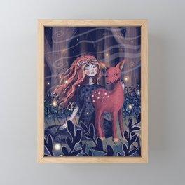Forest Fairy and Fawn Framed Mini Art Print