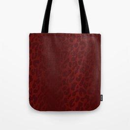 Blood Red Shadowed Leopard Print Tote Bag
