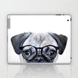 Pug with glasses Dog illustration original painting print Laptop & iPad Skin