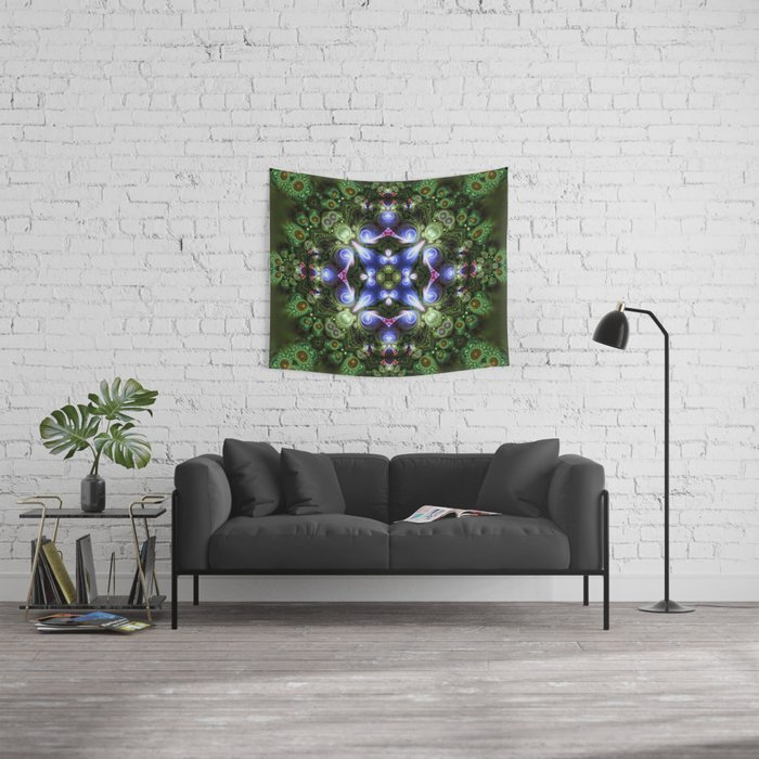 Fractal Forest Indigo Wall Tapestry