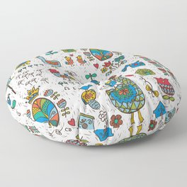 Swedish Folk Art Goose Fable Floor Pillow