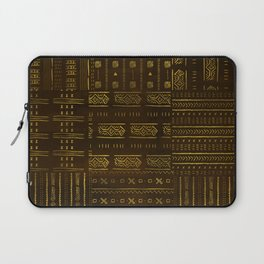Gold African Tribal Pattern on rich brown texture Laptop Sleeve