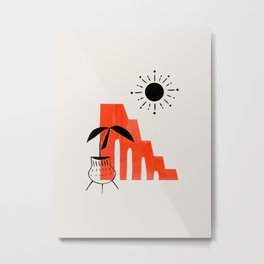Mid Century Modern Minimalist Ancient Ruins Orange Paper Collage Potted Plant Legs by Ejaaz Haniff Metal Print