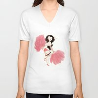 burlesque V-neck T-shirts featuring Burlesque Bombshell by Stasia B