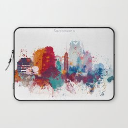 Colorful Sacramento watercolor skyline Laptop Sleeve