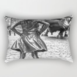 Fearless Girl And Wall Street Bull Statue - New York Rectangular Pillow