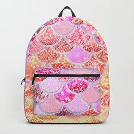 Rosegold & Gold Trendy Glitter Mermaid Scales Backpack