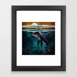 Moonlit Whales Framed Art Print