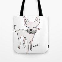 minnie Tote Bags featuring Minnie by Daynasdoodleydoos