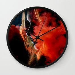 Portrait in the clouds Wall Clock