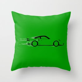 Fast Green Car Throw Pillow