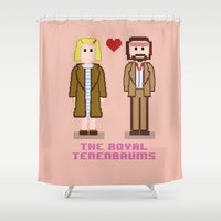 tenenbaum Shower Curtains featuring Margot and Richie Tenenbaum 8 bits by AlbaRicoque