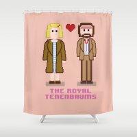 tenenbaums Shower Curtains featuring Margot and Richie Tenenbaum 8 bits by AlbaRicoque