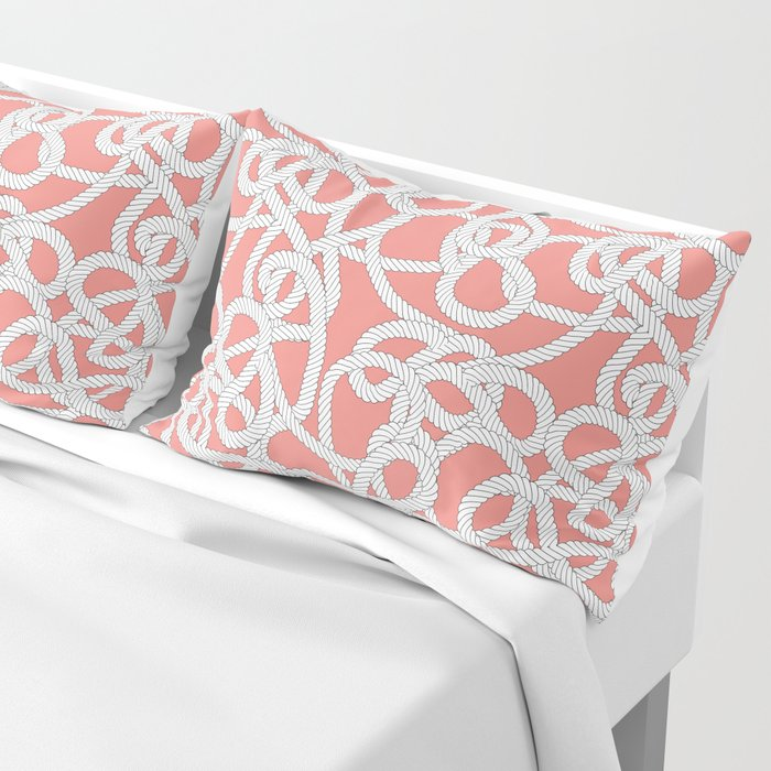 Nautical Rope Knots in Coral Pillow Sham