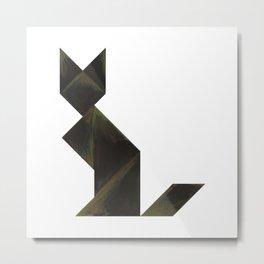 Tangram Black Cat Metal Print