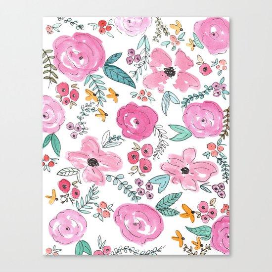 Pink Watercolor Floral Print  Canvas Print