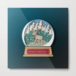 Merry Christmas Snowglobe Reindeer Metal Print