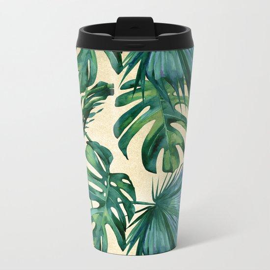 Tropical Island Republic Green on Linen Metal Travel Mug