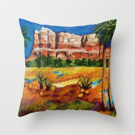 Courthouse Butte Rock, Sedona Arizona Throw Pillow