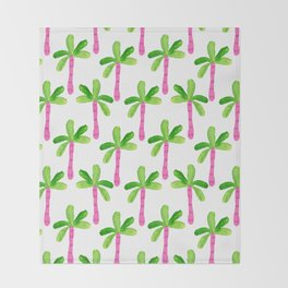 Watercolor Palm Trees in Pink Throw Blanket