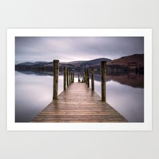 Lake View with Wooden Pier Art Print