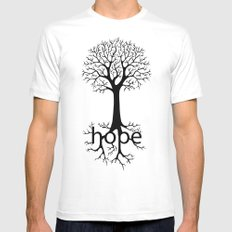 Hope Takes Roots MEDIUM White Mens Fitted Tee