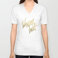 wanderlust V-neck T-shirts featuring Wanderlust by Tamsin Lucie