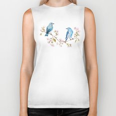 Mountain Bluebirds on Sakura Branch Biker Tank
