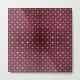 Fuchsia Golden Star Bursts Metal Print