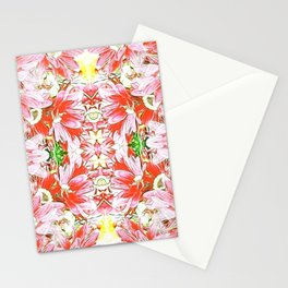 K-196 Abstract Pink Flowers Stationery Cards