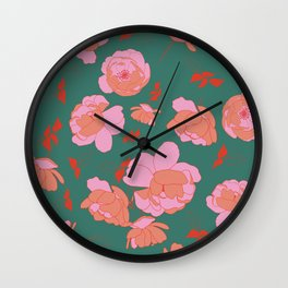 English Roses in Pink and Green Wall Clock
