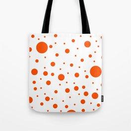 Mixed Polka Dots - Dark Orange on White Tote Bag
