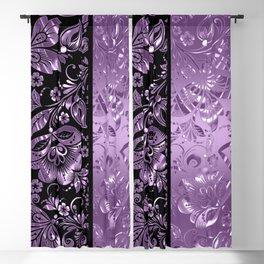Purple & Black Damask Pattern Blackout Curtain