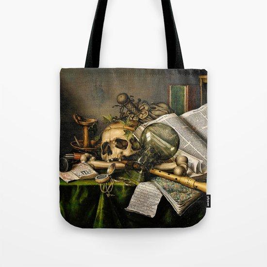 Vintage Vanitas- Still Life with Skull Tote Bag