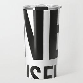 DONETE MUSEUM logo text design in black&white Travel Mug
