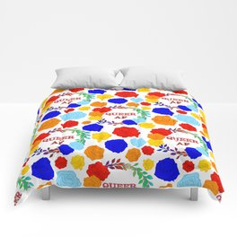 QUEER AF - A Rainbow Floral Pattern Comforters