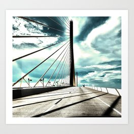 Sunshine Skyway Bridge in saturated  neutrals - St. Pete, FL - Florida photography  Art Print