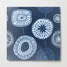 Folksy Floral in Navy Blue Metal Print