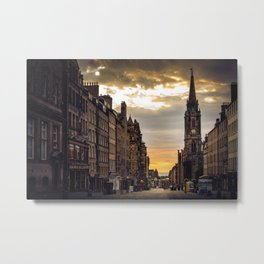 Royal Mile Sunrise in Edinburgh, Scotland Metal Print