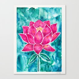 Sacred Lotus – Magenta Blossom with Turquoise Wash Canvas Print
