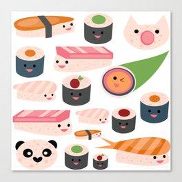 Kawaii sushi white Canvas Print