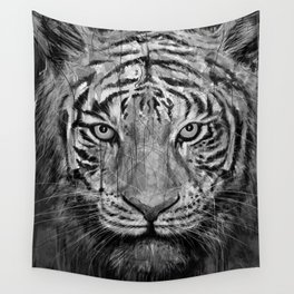 Tiger Black & White Wall Tapestry