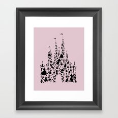 disneyworld castle with characters pink  Framed Art Print