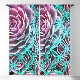 Purple Succulent Turquoise Geometric Blackout Curtain