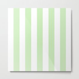 Tea green - solid color - white vertical lines pattern Metal Print
