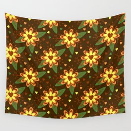 Flowers versus Hearts Wall Tapestry