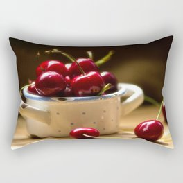 Red Cherries on the table Rectangular Pillow