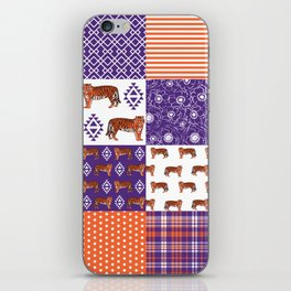 University clemson orange and purple quilt pattern tiger pattern gifts college sports football iPhone Skin