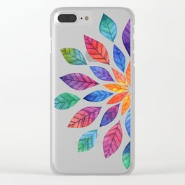 Rainbow Leaves Clear iPhone Case